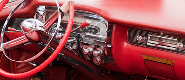 Red vintage car interior Royalty Free Stock Photos