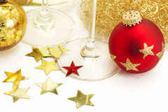 Red and vintage christmas balls from top with ange Royalty Free Stock Photos