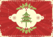 Red vintage Christmas card for text Stock Image
