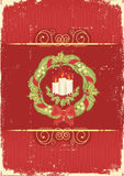 Red vintage Christmas card for text Stock Photo
