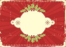Red vintage Christmas card for text Royalty Free Stock Image