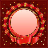 Red vintage circle frame with ribbon stock illustration