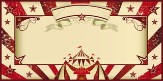 Red vintage circus invitation. Circus invitation with sunbeams and a large frame. A retro invitation card for your circus company vector illustration