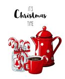 Red vintage coffee pot with cup an glass jar with candy canes on white background, with text It`s Christmas time. Red vintage coffee pot with cup an glass jar Vector Illustration