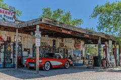Red vintage Corvette at Hackberry's General Store. Hackberry, Arizona, USA - June 11th 2014. Red vintage Corvette at Hackberry's General Store. Hackberry is Royalty Free Stock Images