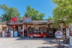 Red vintage Corvette at Hackberry's General Store. Hackberry, Arizona, USA - June 11th 2014. Red vintage Corvette at Hackberry's General Store. Hackberry is Royalty Free Stock Photo