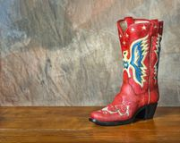 Red vintage cowboy boot Stock Image