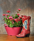 Red vintage cowboy boot Royalty Free Stock Images