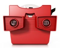 Red vintage 3D slide viewer isolated on white background. 3D illustration.  Royalty Free Stock Images