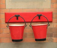 Red Vintage Fire Buckets. stock photography