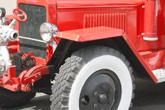 Red vintage fire truck Royalty Free Stock Image