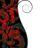 Red vintage floral elements. Vintage red floral pattens on a black background with white place for text Stock Images