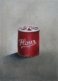 An oil painting of a red vintage flour tin. Illust Stock Photos