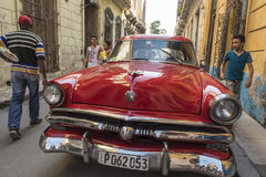 Red vintage Ford taxi Old Havana Stock Photos