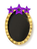 Red vintage frame with three stars. Royalty Free Stock Photos