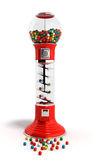 Red vintage gumball dispenser machine made of glass and reflecti. Ve plastic with chrome trim filled with multicolored gumballs on an 3d render isolated white Stock Image