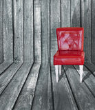 Red vintage leather chair stock photography
