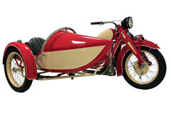 Red vintage motorcycle with sidecar Stock Photos