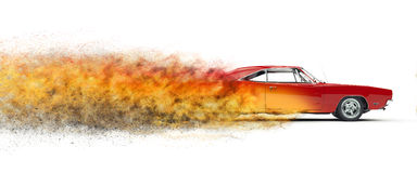 Red vintage muscle car - particle disintegration effect Stock Photos