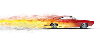 Red vintage muscle car - smoke trails. Red vintage muscle car smoke trails effect Royalty Free Stock Photography