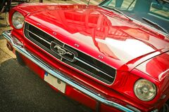 Red vintage mustang motor car stock photo