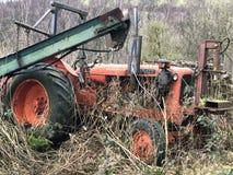 Deserted vintage tractor stock image