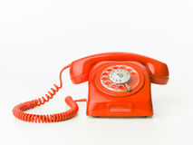 Red vintage phone. Vintage red phone isolated on white background. copy space available royalty free stock image