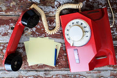 Red vintage phone Stock Photography