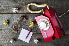 Red vintage phone Royalty Free Stock Images