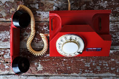 Red vintage phone Stock Photos