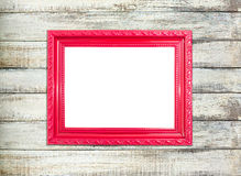 Red Vintage picture frame on old wood background Stock Photo