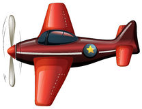 A red vintage plane. Illustration of a red vintage plane on a white background Stock Images