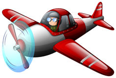 A red vintage plane with a pilot. Illustration of a red vintage plane with a pilot on a white background Stock Image