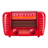 Red Vintage Radio-isolated On White