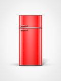 Red vintage refrigerator. Old retro vintage red refrigerator in front view Stock Image
