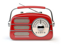 Red vintage retro radio receiver isolated on white. Royalty Free Stock Photography