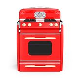 Vintage stove 50s. Red vintage retro stove in front view isolated on white. 3d illustration Royalty Free Stock Photography