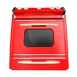 Vintage stove 50s. Red vintage retro stove in front view isolated on white. 3d illustration Stock Photography