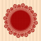 Red vintage round lacy napkin. Vector illustration. Royalty Free Stock Images