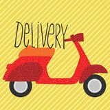 Red vintage scooter, delivery illustration Stock Image