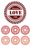 Red vintage stamps for Valentine day royalty free stock photo
