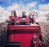 Red vintage steam engine Stock Images