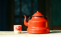 Red vintage teapot Stock Photos