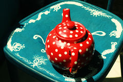 Red vintage teapot Stock Photography