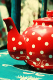 Red vintage teapot Stock Photo