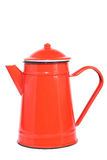 Red vintage teapot, isolated on white. Red metal vintage teapot, isolated on white Stock Images