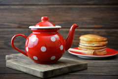 Red vintage teapot Stock Image