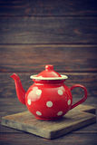 Red vintage teapot Stock Images