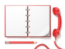 Red vintage telephone, pencil and notebook. 3D Royalty Free Stock Images