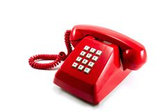 Red vintage telephone Stock Photos